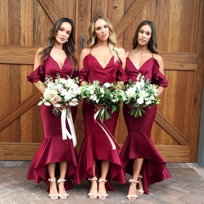 Burgundy 2019 Bridesmaid Dress UK | Mermaid V-Neck Maid of Honor Dress UK_4