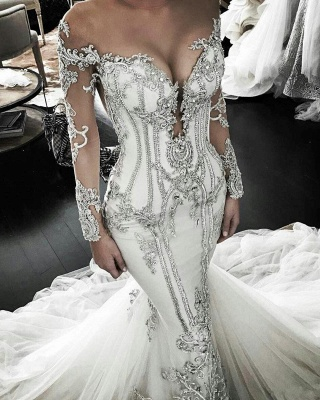 Vintage Appliques Sexy Mermaid Wedding Dresses UK Off-the-Shoulder Long Sleeves Bridal Gowns_1