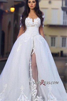 A-Line Appliques Long-Sleeves White Elegant Tulle Wedding Dresss_2