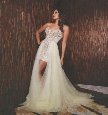 Gorgeous Sweetheart Sleeveless Tulle Prom Dress UK With Beadings_2