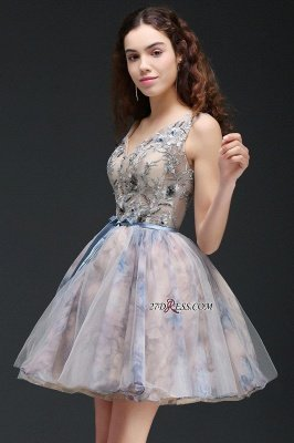Sash Cute Lace-up Sleeveless Straps Short Flowers Homecoming Dress UK_2