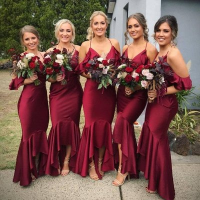 Burgundy 2019 Bridesmaid Dress UK | Mermaid V-Neck Maid of Honor Dress UK_3