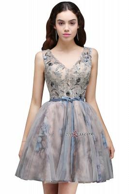Sash Cute Lace-up Sleeveless Straps Short Flowers Homecoming Dress UK_3