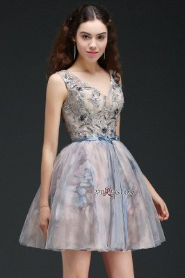 Sash Cute Lace-up Sleeveless Straps Short Flowers Homecoming Dress UK_6