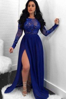Long Sleeves Appliques Prom Dress UKes UK Open Back Side Slit Sequined Evening Dress UK SK0181_3