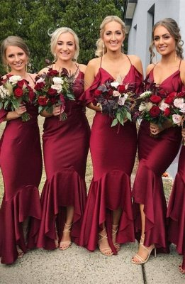 Burgundy 2019 Bridesmaid Dress UK | Mermaid V-Neck Maid of Honor Dress UK_1