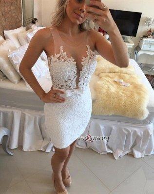 Bow Lace Pearls Elegant Mini Bodycon Straps Tight Homecoming Dress UK_3