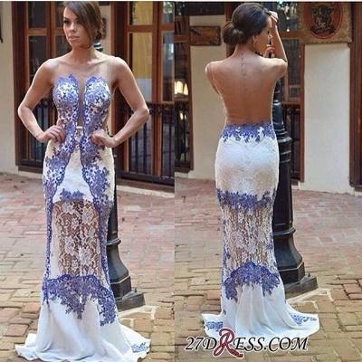 Sweep Scoop Sheath Elegant Lace Train Prom Dress UK_1