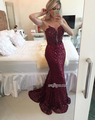 Sweep-Train Luxury Burgundy Sequined Sleeveless Bow Mermaid Prom Dress UK BT007_4