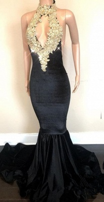 Black High-Neck Prom Dress UK | Lace Appliques Party Gowns On Sale_2