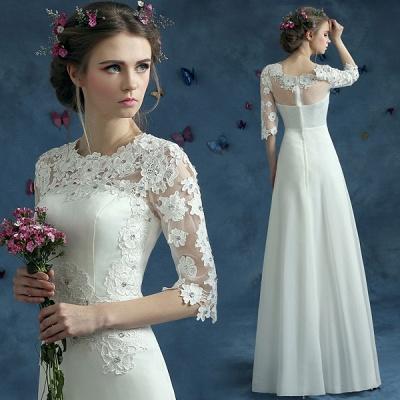 Elegant Lace Half Sleeve Wedding Dress Illusion Zipper Floor-length_3