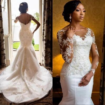 Sexy Mermaid Lace Wedding Dresses UK Cheap Open Back Long Sleeve Wedding Dresses UK_3