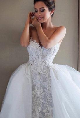Gorgeous Lace Appliques Tulle Wedding Dress Removable Train_3