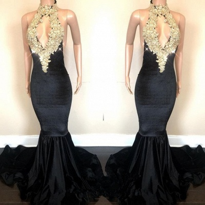 Black High-Neck Prom Dress UK | Lace Appliques Party Gowns On Sale_3