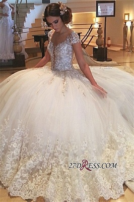 Cap-Sleeves Wedding Gowns | Princess Lace Wedding Dress On Sale_2