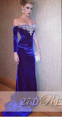 Fashionable Royal Blue Sheath Prom Gowns Beaded Sweep Train Elegant Evening Dress UKes UK_1