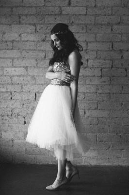 Mini Sequined Wedding Reception Dress Sleeveless Tulle_3