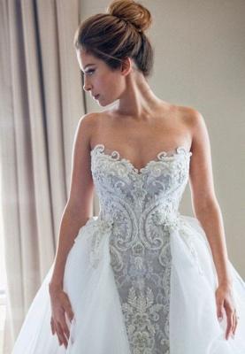 Gorgeous Lace Appliques Tulle Wedding Dress Removable Train_4