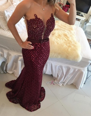 Sweep-Train Luxury Burgundy Sequined Sleeveless Bow Mermaid Prom Dress UK BT007_3