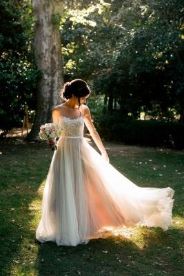 Elegant Summer Beach Sleeveless Wedding Dresses UK New Arrivals Tulle Lace Appliques_3