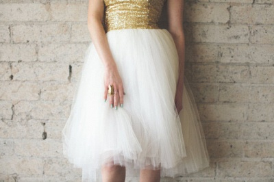 Mini Sequined Wedding Reception Dress Sleeveless Tulle_5