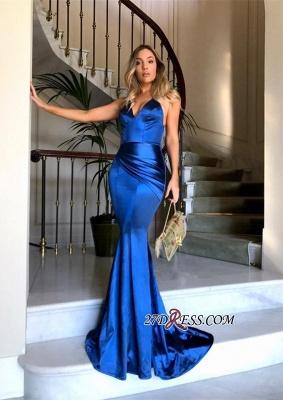 Luxury Ruched V-Neck Mermaid Zipper Evening Dress UK BA6937_2