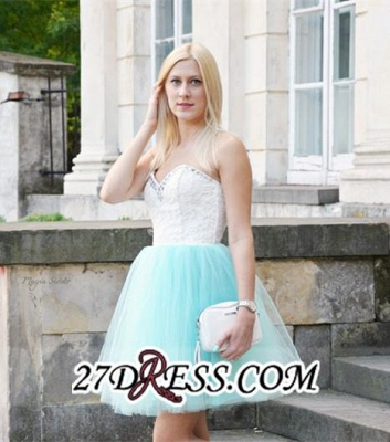 Lace Sleeveless Mini Newest Crystal Sweetheart Homecoming Dress UK_3