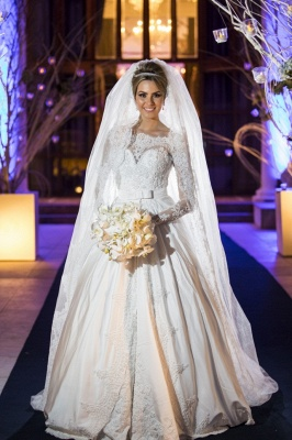 Princess Bridal Lace Wedding Dress Long Sleeves Gorgeous New Arrival Full Beadss Gowns_1
