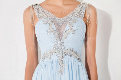 Gorgeous A-line Chiffon Evening Dress UK Beadings Crystals_2