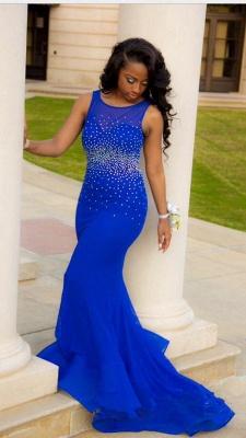Elegant Royal Blue Mermaid Beadings Prom Dress UK Open Back CJ0477 BK0_1