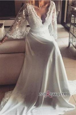 A-Line Elegant Long Lace V-Neck Prom Dress UKes UK_2