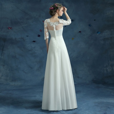 Elegant Lace Half Sleeve Wedding Dress Illusion Zipper Floor-length_5