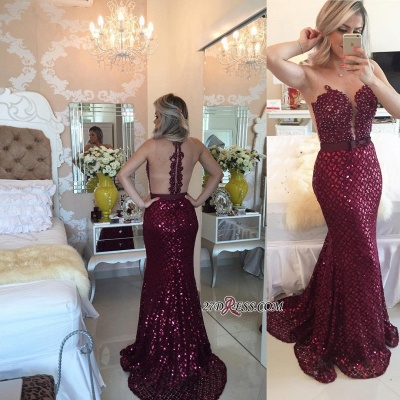 Sweep-Train Luxury Burgundy Sequined Sleeveless Bow Mermaid Prom Dress UK BT007_1