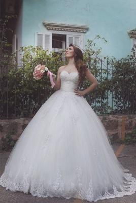 Elegant Tulle Lace Ball Gown Wedding Dress Sweetheart Sleeveless_1