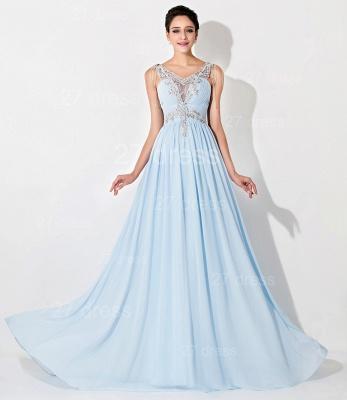 Gorgeous A-line Chiffon Evening Dress UK Beadings Crystals_1