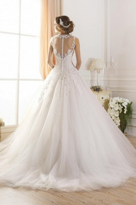 Elegant Illusion Sleeveless Tulle Wedding Dress With Lace Appliques_2