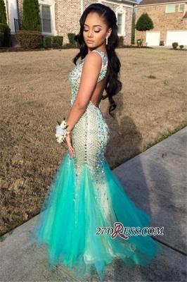 Sequins Beaded Luxury Sleeveless Tulle Jewel Mermaid Sparkly Backless Prom Dress UK_2