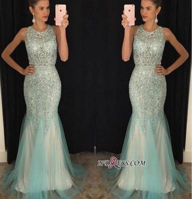 Mermaid Luxury Tulle Sleeveless Scoop Crystal Prom Dress UKes UK_1