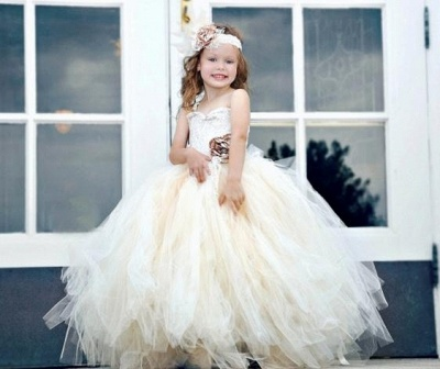 Glamorous Sweetheart Sleeveless Girl Pageant Dress With Ball Gown And Flower_1