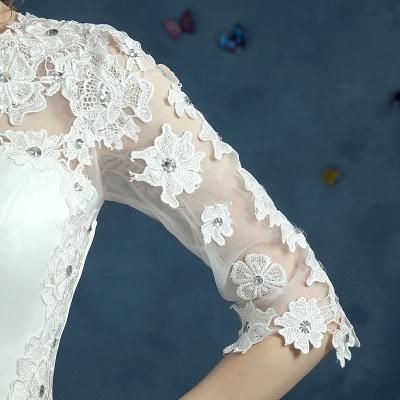 Elegant Lace Half Sleeve Wedding Dress Illusion Zipper Floor-length_6