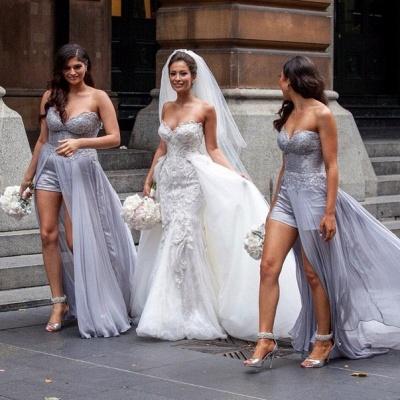 Gorgeous Lace Appliques Tulle Wedding Dress Removable Train_5