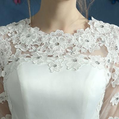 Elegant Lace Half Sleeve Wedding Dress Illusion Zipper Floor-length_4