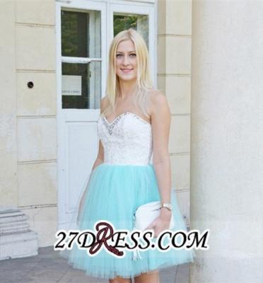 Lace Sleeveless Mini Newest Crystal Sweetheart Homecoming Dress UK_2