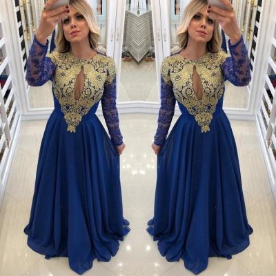 Sexy Royal Blue 2019 Evening Dress UK | Long Sleeve Lace Chiffon Prom Dress UK_3