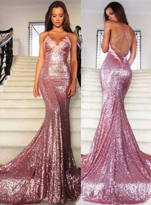 Gorgeous Sequins V-Neck Prom Dress UKes UK Mermaid Spaghetti Straps Party Gowns_3