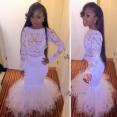 Sexy Mermaid Two-Piece Dress UK Tulle Prom Lace Long-Sleeves yj0010 BK0_1