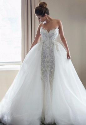Gorgeous Lace Appliques Tulle Wedding Dress Removable Train_1