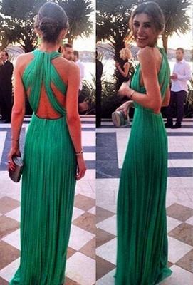 Sexy Green Long Chiffon Evening Dress UK Halter Cross Back_1