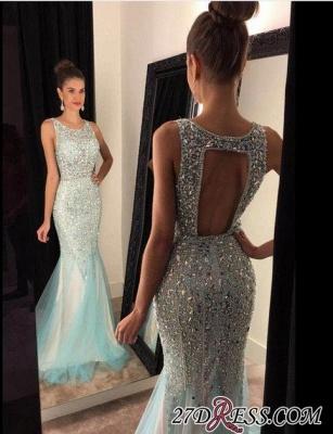 Mermaid Luxury Tulle Sleeveless Scoop Crystal Prom Dress UKes UK_2