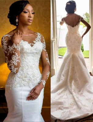 Sexy Mermaid Lace Wedding Dresses UK Cheap Open Back Long Sleeve Wedding Dresses UK_1